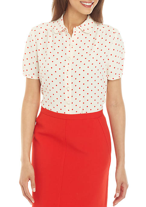 Anne Klein Dotted Cap Sleeve Button Front Blouse