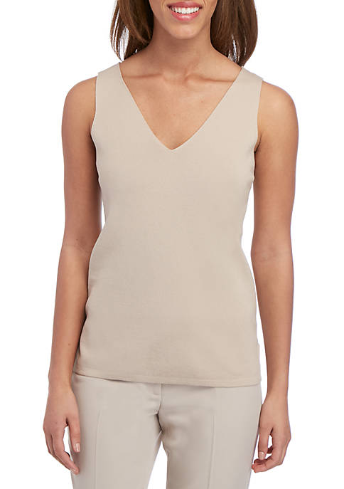 Anne Klein Double V Neck Tank