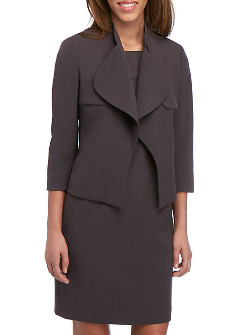Anne Klein Crepe Cascade Trench Jacket