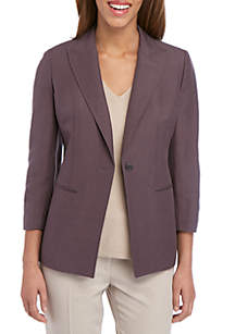 Anne Klein Linen Long Lapel Jacket