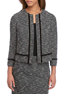 Anne Klein Tweed Kissing Fringe Jacket