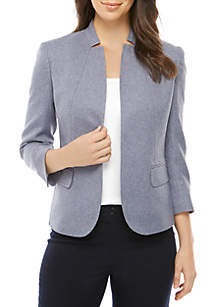 Anne Klein Twill Cut Away Collar Jacket