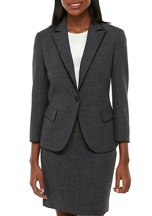 Anne Klein Twill 1 Button Peak Lapel Blazer