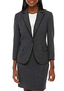 Anne Klein Twill 1 Button Peak Lapel Blazer with Piping