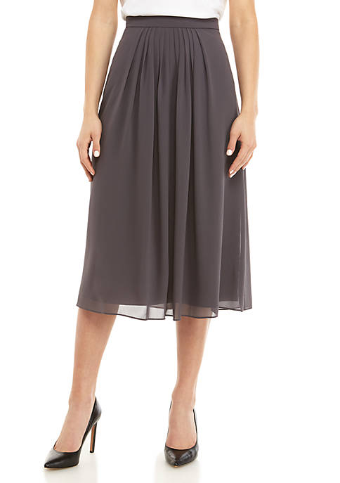 Anne Klein Pleated Chiffon Midi Skirt