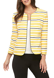 Anne Klein Striped Tweed Jacket