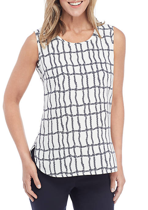 Anne Klein Corniche Print Sleeveless Shell Top