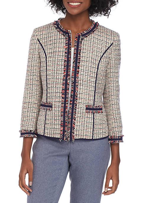 Anne Klein Tweed Cropped Fringe Jacket