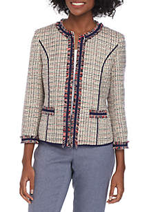 Anne Klein Tweed Cropped Fringe Jacket