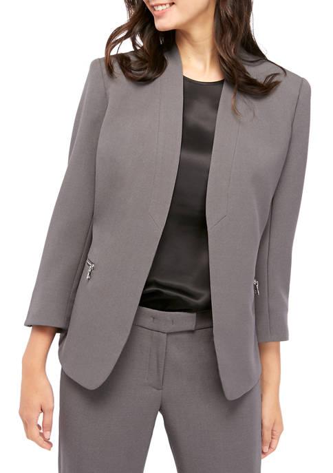 Anne Klein Womens Crepe Zip Pocket Cardigan Jacket