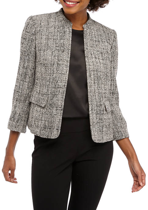Anne Klein Womens Tweed Mandarin Flap Pocket Jacket