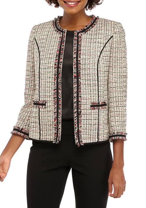 Anne Klein Womens Tweed Collarless Cropped Fringe Jacket