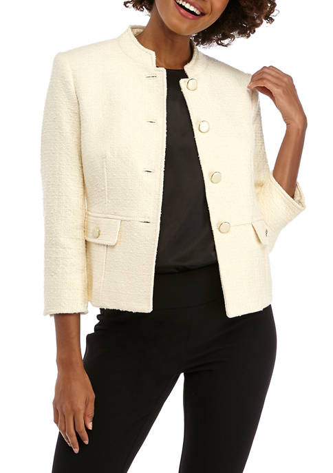Anne Klein Womens Tweed Audrey Hepburn Jacket