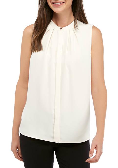 Anne Klein Womens Sleeveless Mandarin Collar Front Pleat
