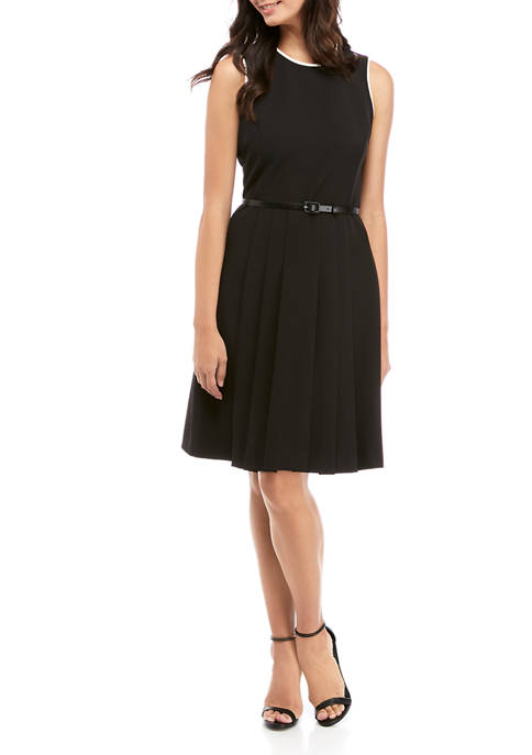 Anne Klein Womens Color Block Piped Belted Pleat