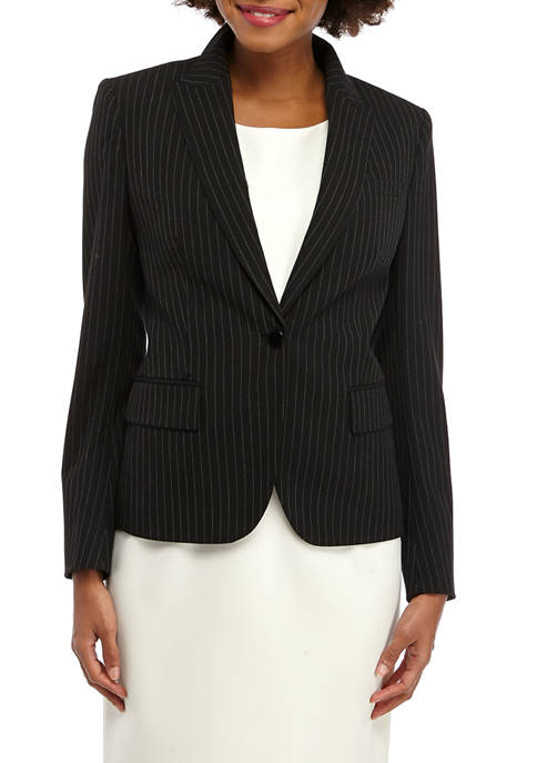 Anne Klein Womens Pinstripe Howard Hawks Peak Lapel