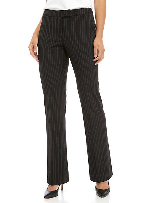 Anne Klein Womens Pinstripe Flare Leg Pants