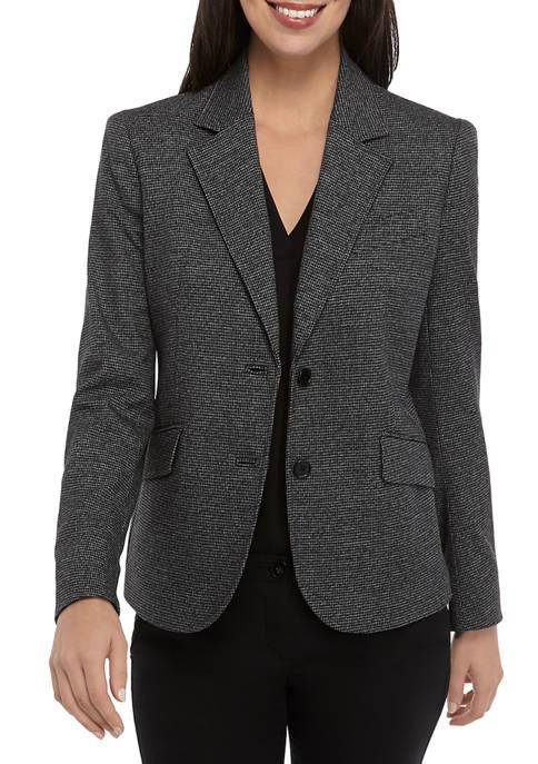 Anne Klein Womens Houndstooth 2 Button Jacket