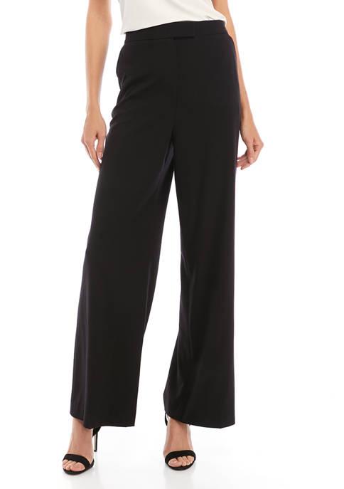 Anne Klein Womens Sabre Stretch Wide Leg Trousers