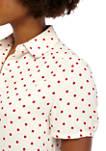 Womens Micro Dot Button Down Short Sleeve Blouse