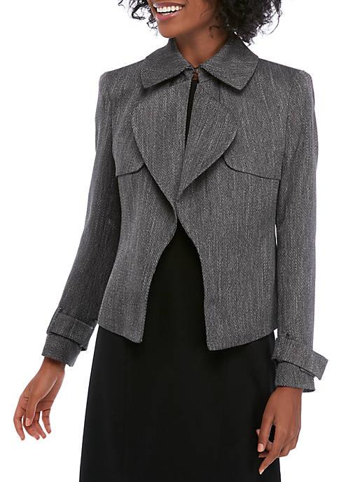 Anne Klein Womens Herringbone Cascade Trench Jacket