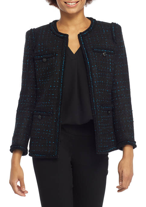 Anne Klein Womens Boucle Check Tweed Collarless Jacket