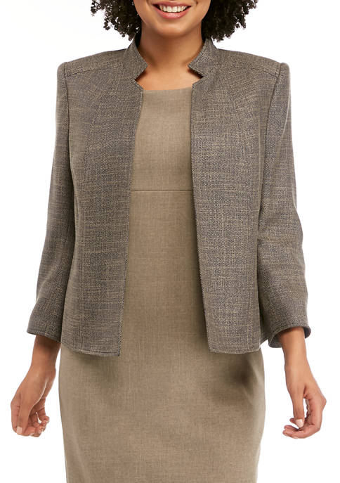 Anne Klein Womens Tweed Cropped Stand Collar Jacket