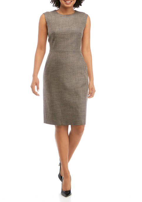 Anne Klein Womens Tweed Sheath Dress with Extended