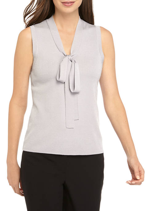 Anne Klein Womens Tie Front Sleeveless Sweater Tank