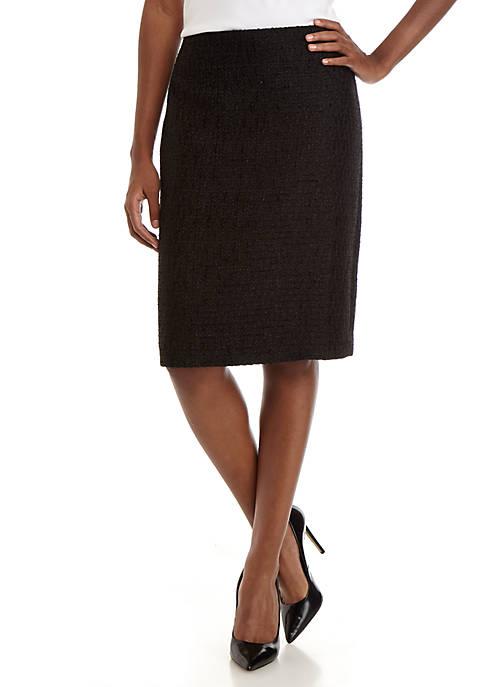 Anne Klein Womens Tweed Pencil Skirt
