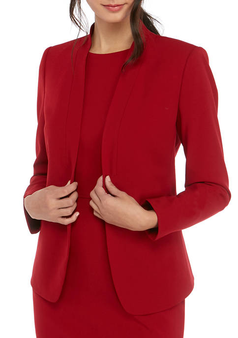 Anne Klein Womens Crepe Zip Pocket Cardigan Jacket