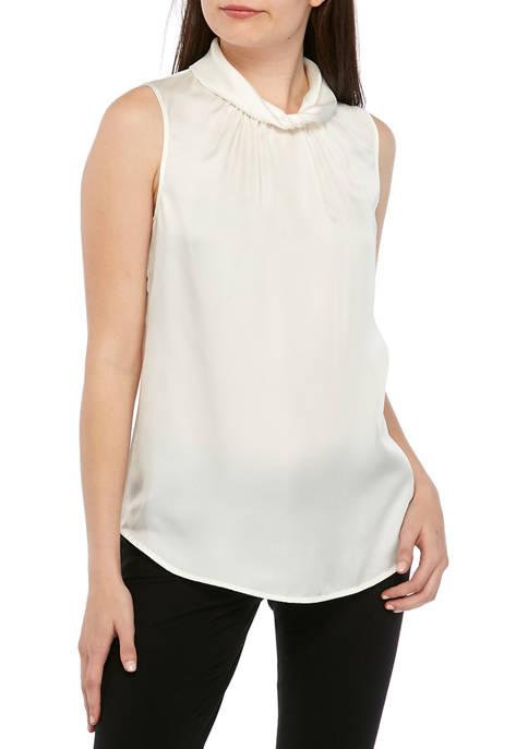 Anne Klein Womens Satin Twist Collar Shell Blouse