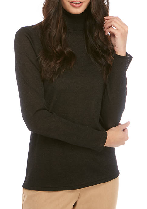 Anne Klein Womens LUREX® Turtleneck Sweater