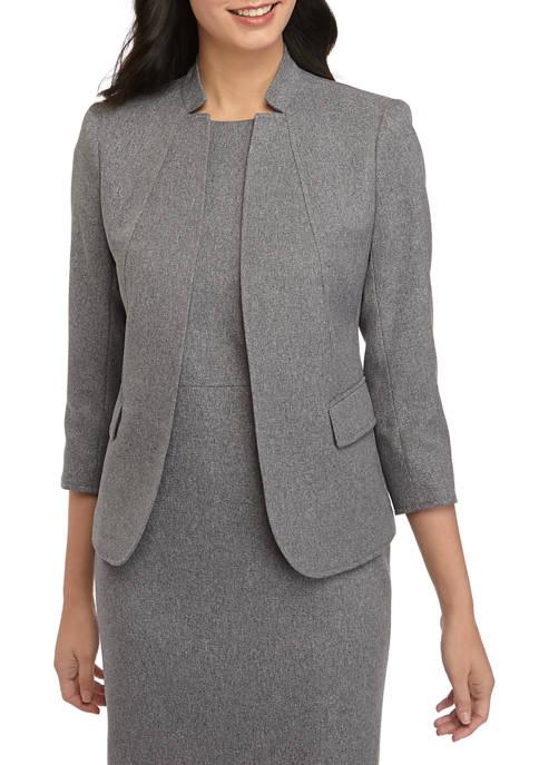 Anne Klein Womens Heather Twill Cut Away Collar