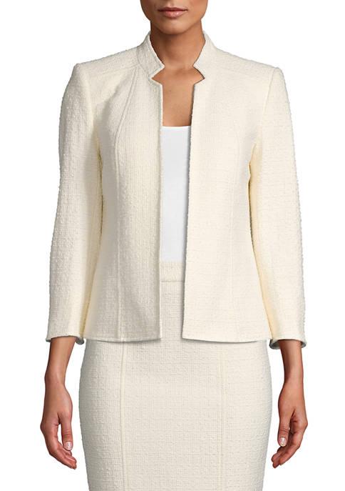 Anne Klein Womens Tweed Crepe Stand Collar Jacket
