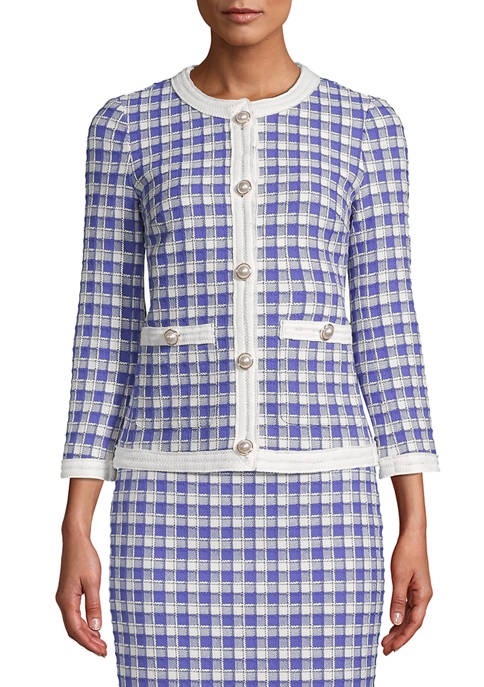 Anne Klein Womens Grid Tweed Collarless Jacket