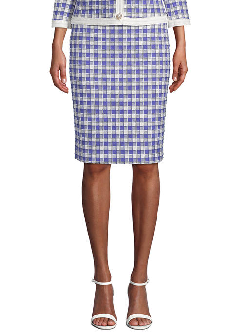 Anne Klein Womens Grid Tweed Slim Skirt
