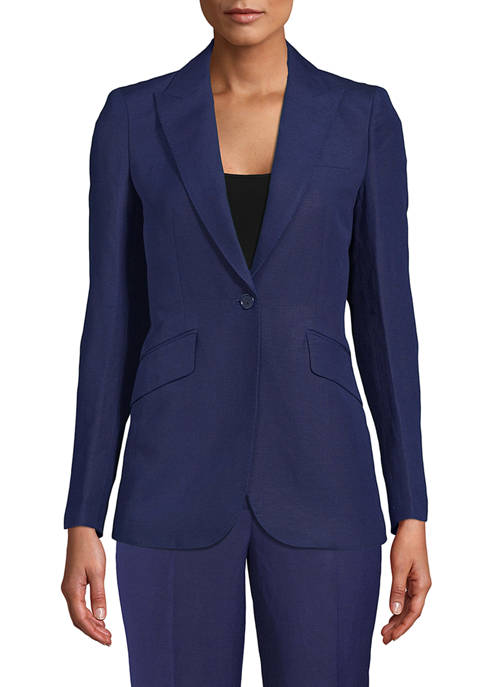 Anne Klein Womens One Button Lapel Lenin Jacket