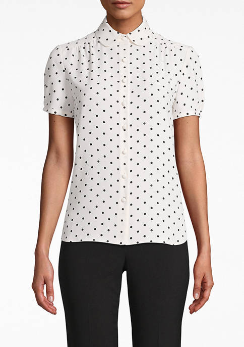 Anne Klein Womens Short Sleeve Ginza Dot Collar