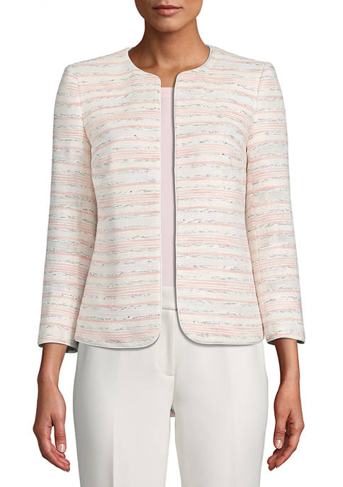 Anne Klein Womens Multi Stripe Colorless Tweed Jacket