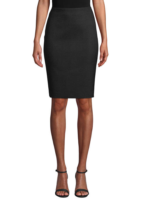 Anne Klein Womens Basketweave Slim Skirt