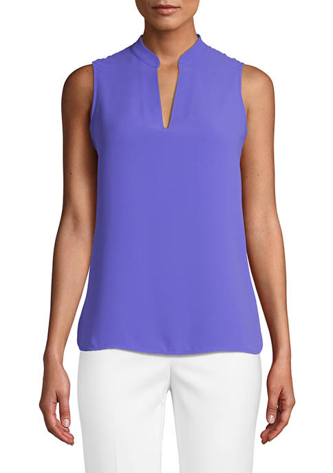 Anne Klein Womens Sleeveless Split Neck Blouse