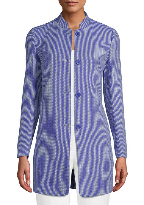 Anne Klein Womens Tweed Topper Jacket