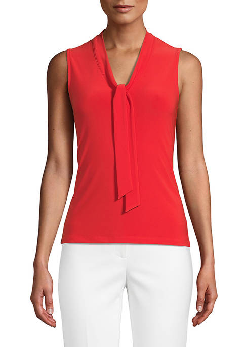 Anne Klein Womens Sleeveless Tie Neck Sweater