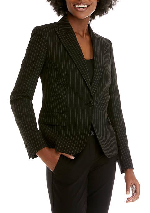 Womens Pinstripe Howard Peak Lapel Jacket