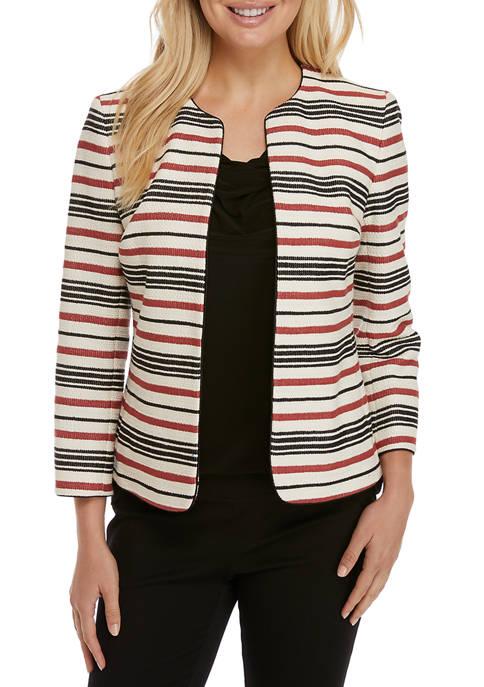 Anne Klein Womens Piped Stripe Cardigan Jacket