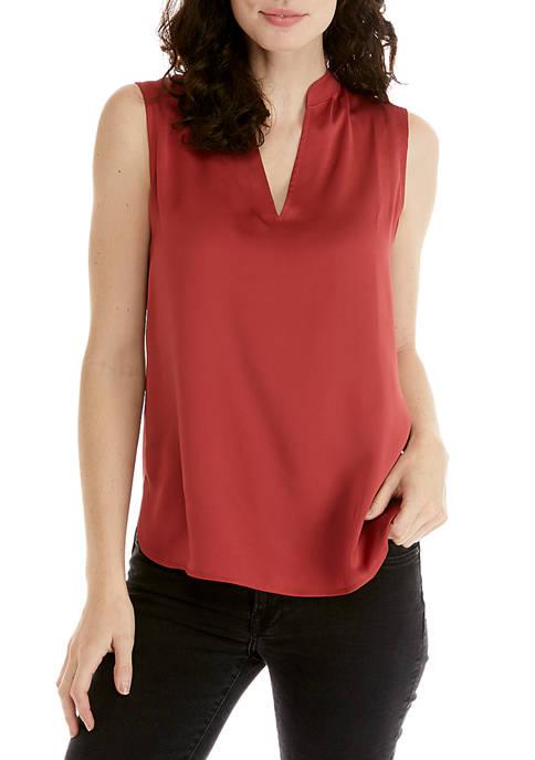 Anne Klein Womens Mandarin Collar Split Neck Blouse
