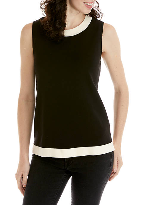 Anne Klein Womens Color Block Sweater Shell Top