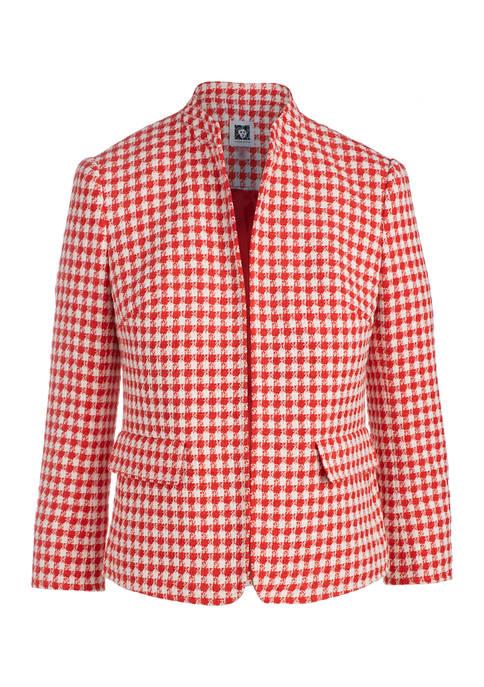 Womens Novelty Tweed Mandarin Collar Jacket