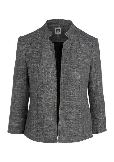 Womens Stand Collar Tweed Jacket